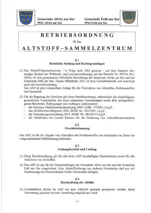 Betriebsordnung für das Altstoff-Sammelzentrum